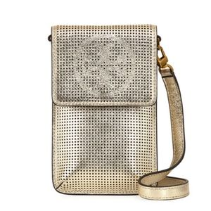 Tory Burch Perforated Metallic Crossbody Phone Bag